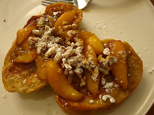 French toast with bourbon peaches and sugared walnuts 2